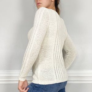 Rachel Zoe Karla Open Knit Crew Neck Cream Sweater